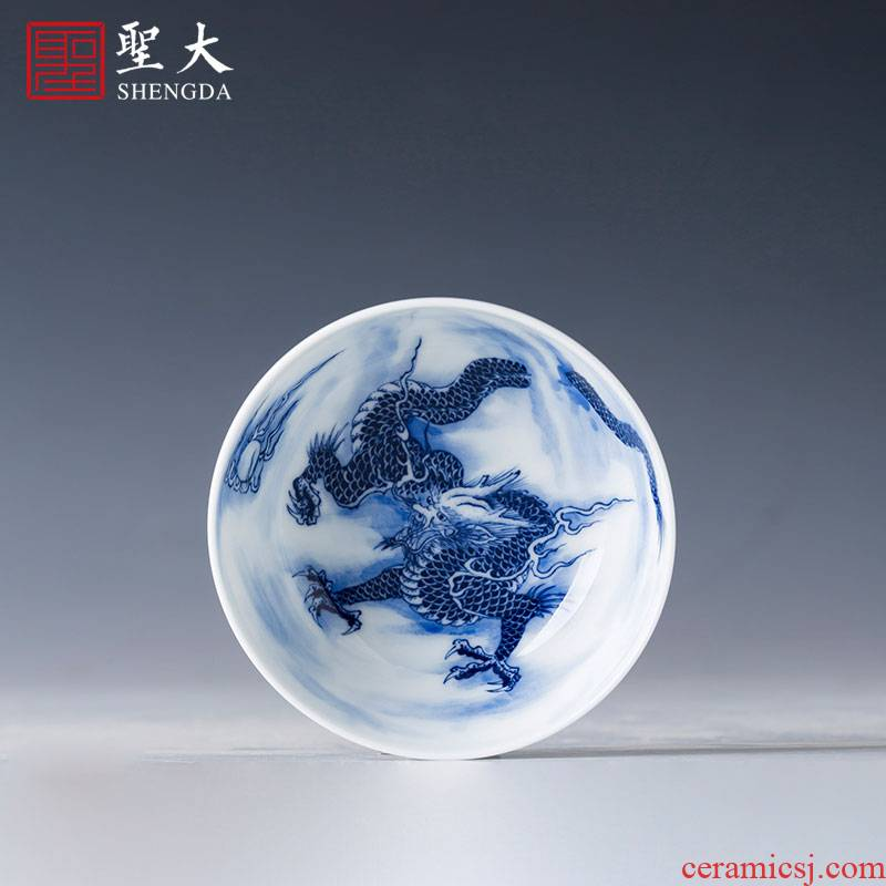 The big cup sample tea cup of pure hand - made ceramic kung fu jingdezhen blue and white longteng Jiang Ya masters cup tea by hand
