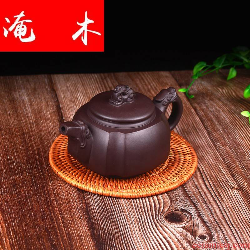 Submerged wood yixing masters all hand it undressed ore old purple clay sifang dragon statute of the teapot tea set origin