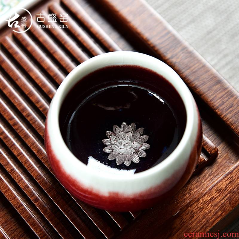 The ancient jun sheng up master cup ceramic manual Mosaic masterpieces whitebait kung fu tea cups tea cups sliced open