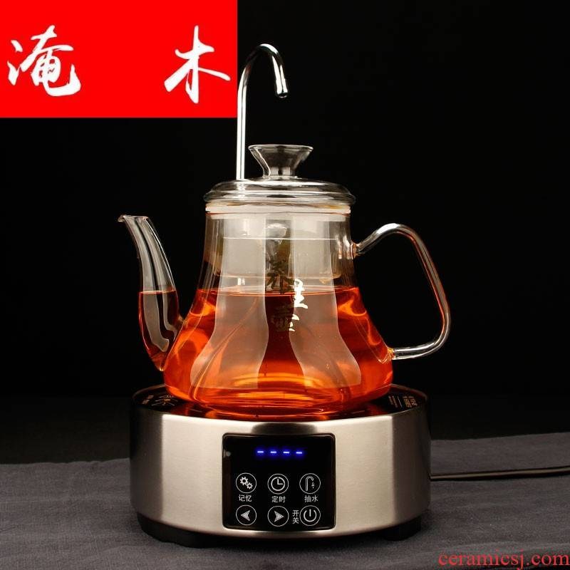 Submerged wood glass steaming pot of a complete set of tea sets with pumping touch electric TaoLu boiled tea stove glass teapot