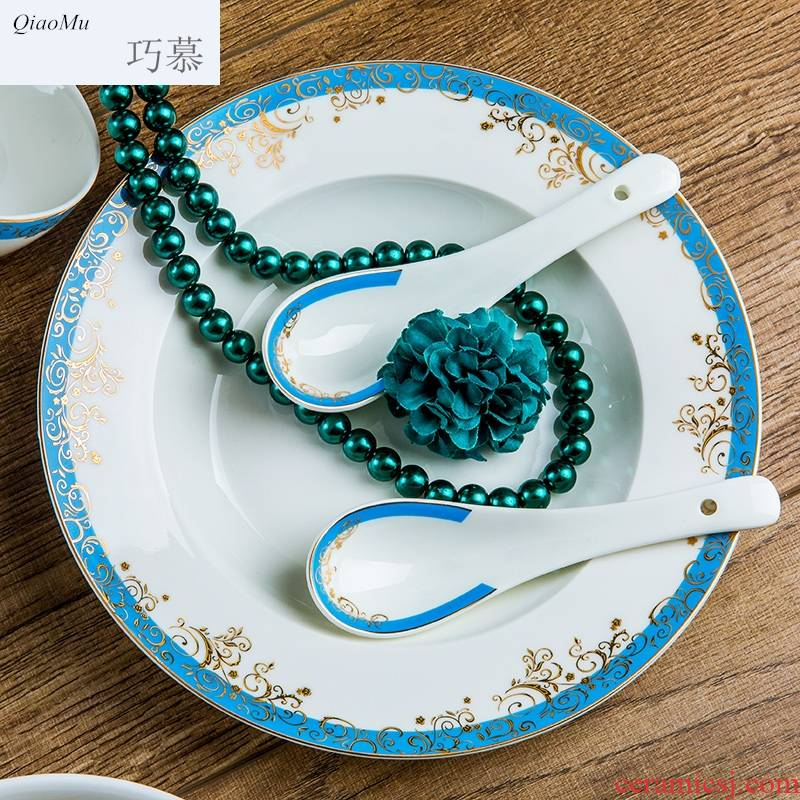 Qiam qiao mu dishes suit household 58 first European dishes ipads porcelain tableware suit Chinese jingdezhen ceramics