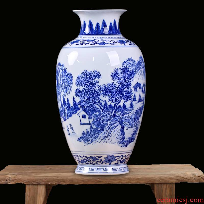 Mesa of jingdezhen blue and white porcelain painting flower vase sitting room rich ancient frame ceramic furnishing articles study ornaments