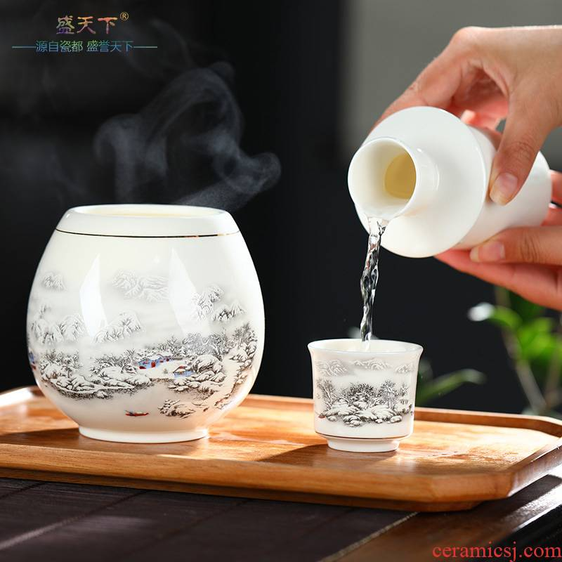Ceramic wine temperature hot hip home wine suits for hot yellow rice wine and a warm wine liquor cup hip Chinese second half jins