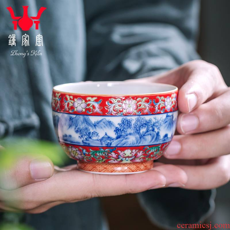 Clock home trade, one cup of kung fu tea cups jingdezhen porcelain enamel colors pattern landscape ceramic sample tea cup
