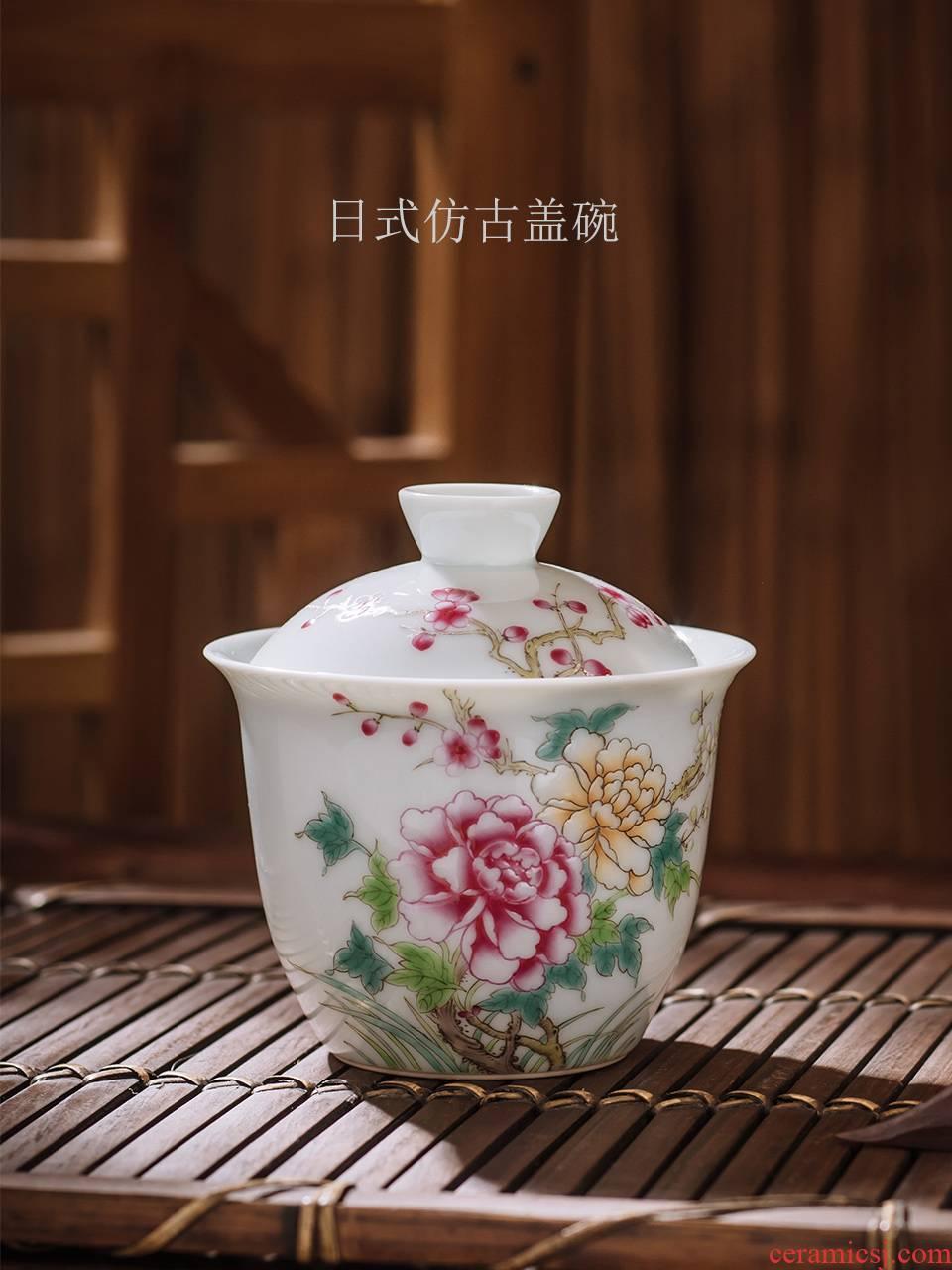 Japanese tureen tea set of pure manual small kung fu tea cup to restore ancient ways single jingdezhen ceramic hand - made gift box