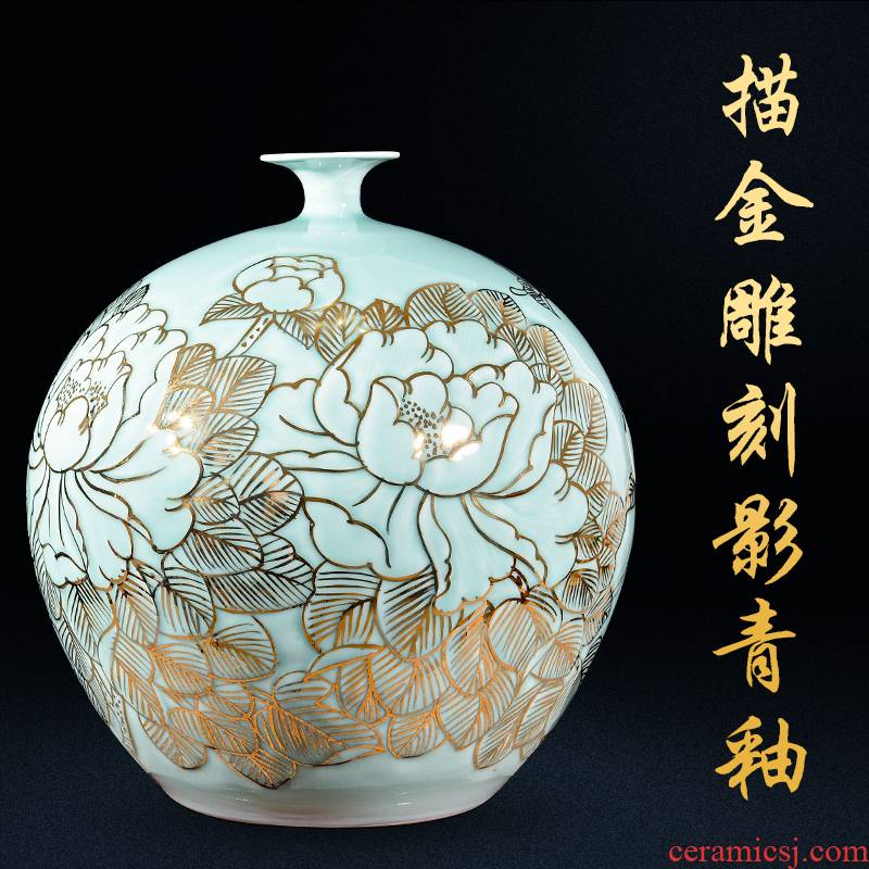 Jingdezhen ceramics hand - made light see vases, new Chinese style household living room key-2 luxury furnishing articles large porch TV ark