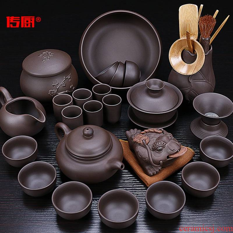 The kitchen household undressed ore violet arenaceous kung fu tea set The whole household teapot teacup tea sea GaiWanCha way to send