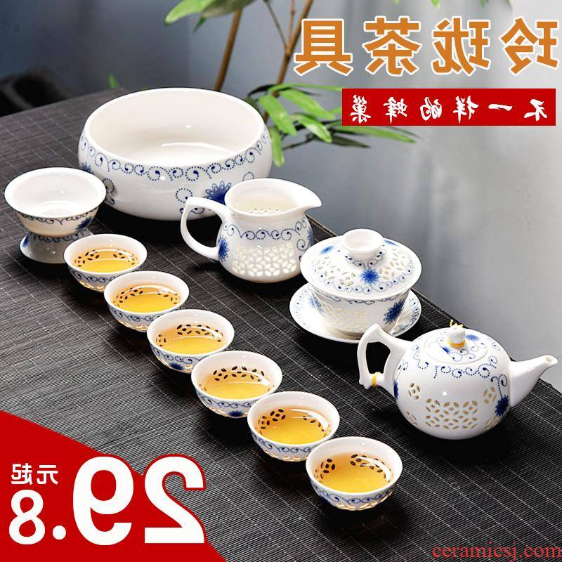 The creative household kitchen and exquisite ceramic kung fu tea set tea tray tureen teapot tea cup contracted with tea