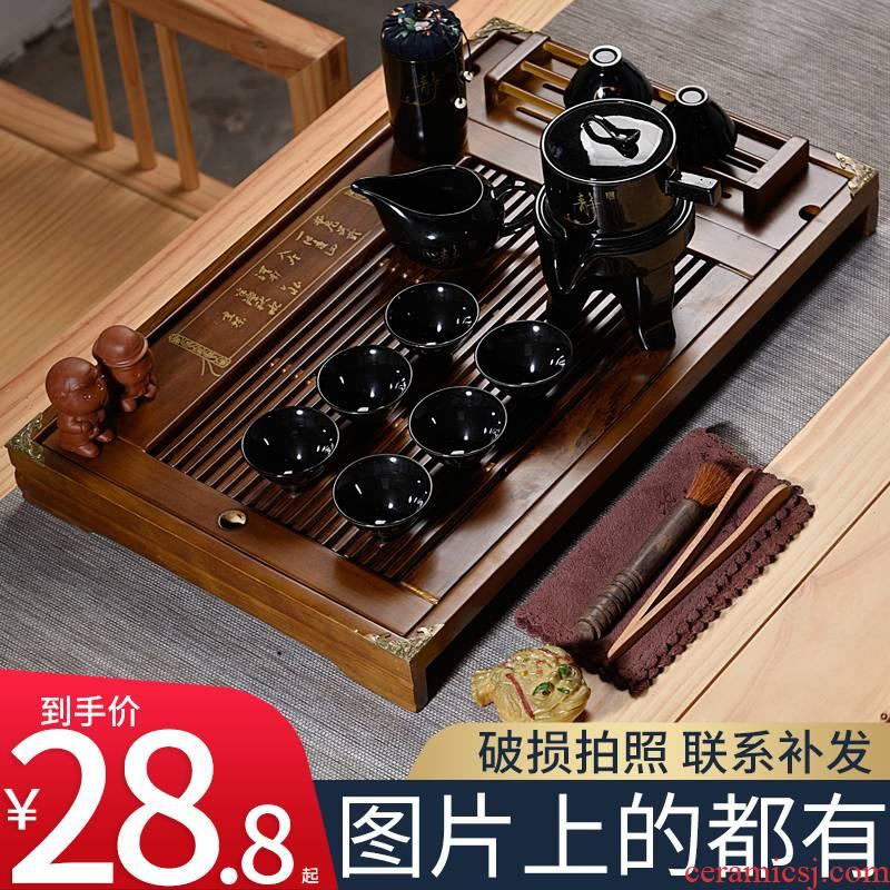 Hui shi kung fu tea set solid wood tea tray ceramic purple sand tea tureen household contracted sitting room semi - automatic