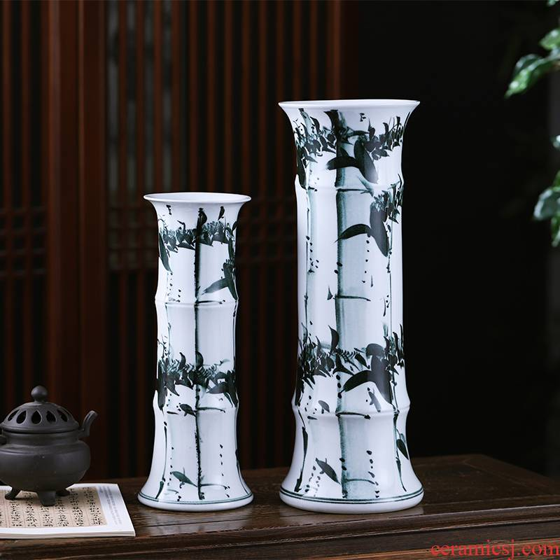 Jingdezhen ceramics lucky bamboo vases, flower arranging furnishing articles of modern Chinese style household living room straight hydroponic ornaments