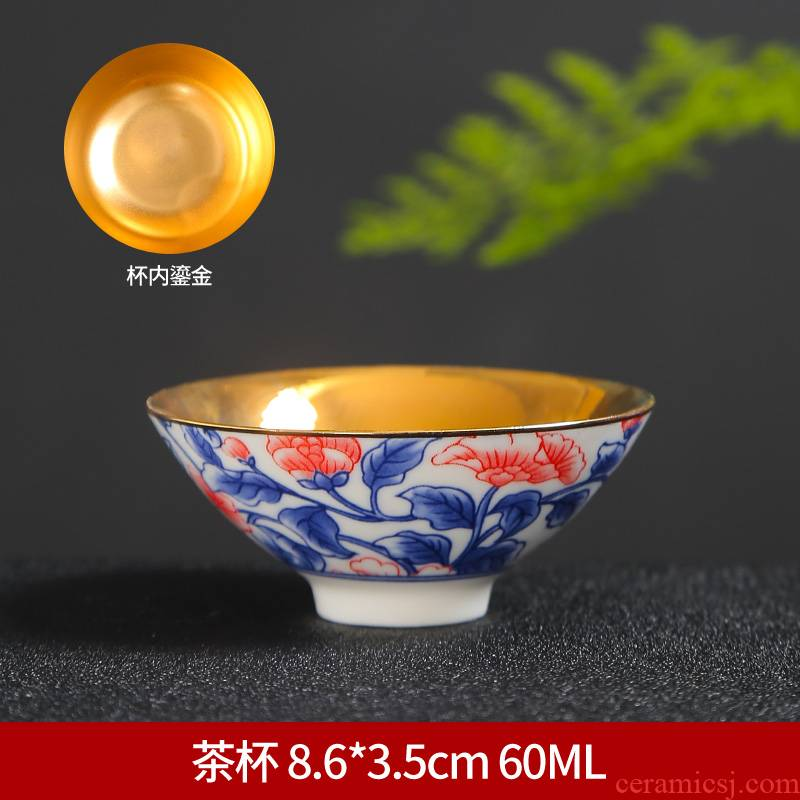 Tasted silver gilding ceramic cups Japanese blue and white porcelain hat cup suit kung fu master cup restoring ancient ways is a single tea light sample tea cup
