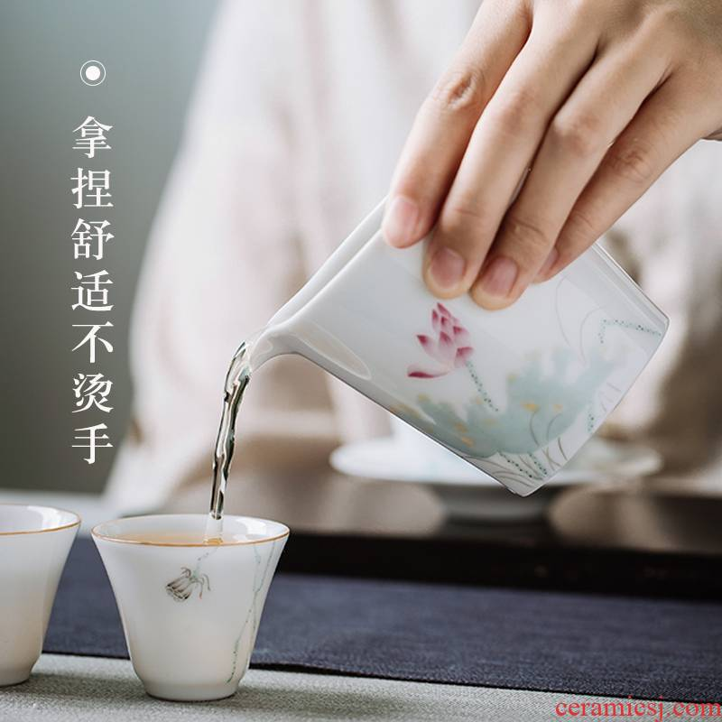 White porcelain fair points tea device against the hot cup of pure hand - made teacup a single large capacity of jingdezhen kung fu tea accessories