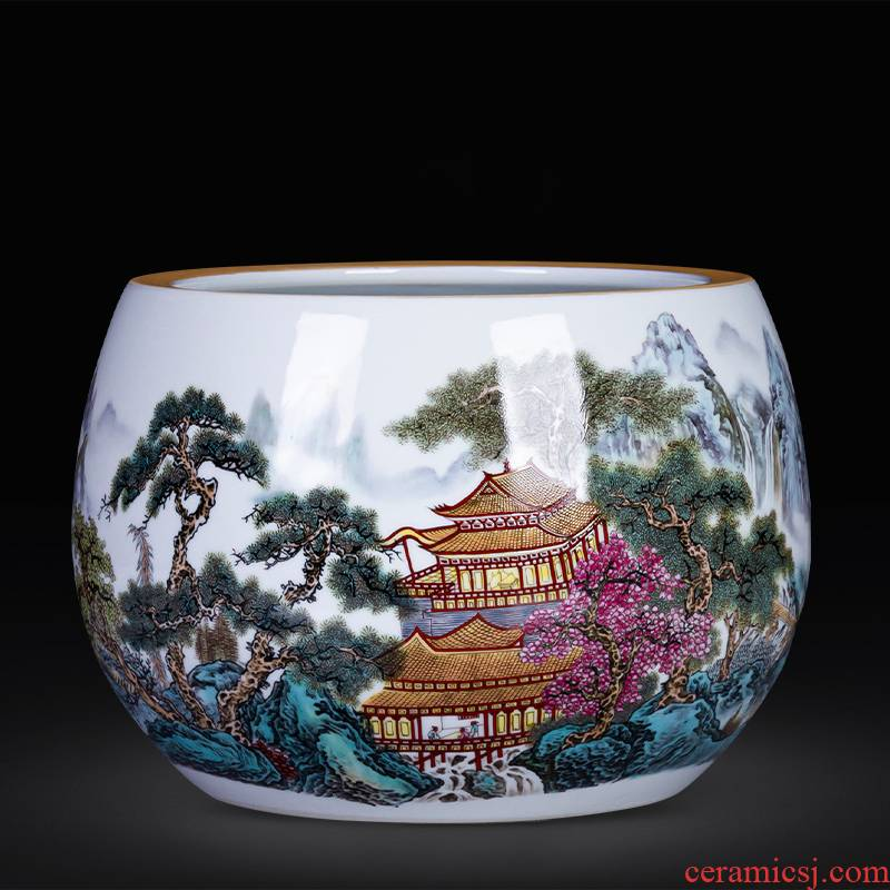 Jingdezhen ceramics powder enamel cornucopia hydroponic plant new home desktop sitting room adornment is placed in the basin