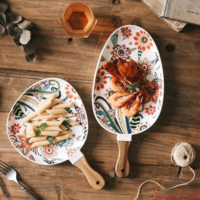 Nordic recent glaze with handle ceramic disc beefsteak snack plate household new creative fruit