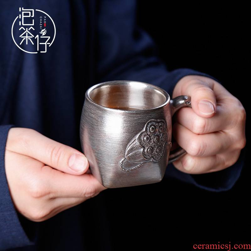 Tasted silver gilding office cup silver cups with ceramic glass office move silver restoring ancient ways keller cup in hand