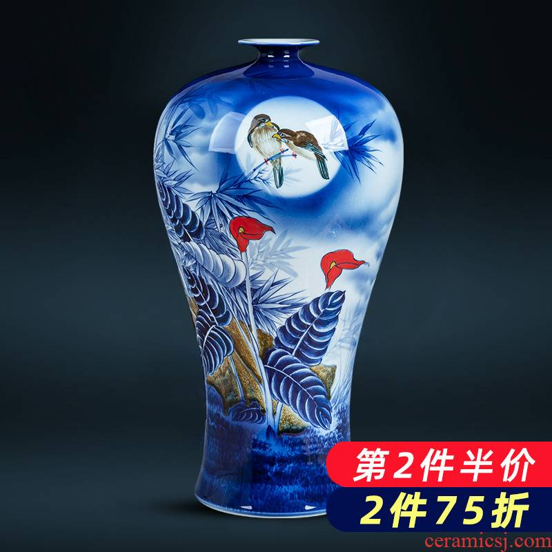 Jingdezhen blue and white porcelain vase hand - made large name plum bottle of the sitting room of Chinese style household ceramics exhibition hall decoration furnishing articles
