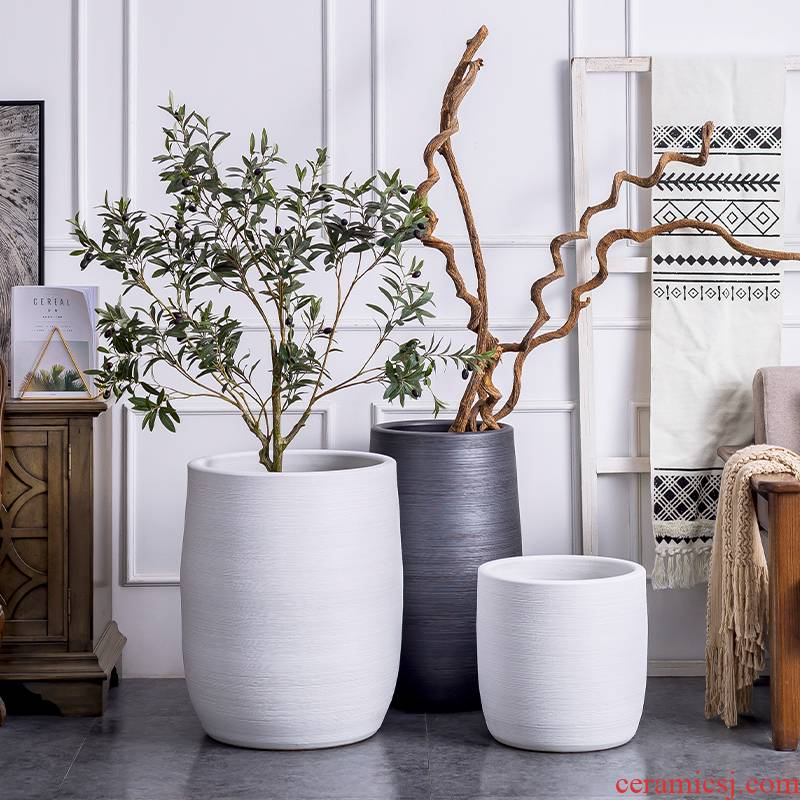 Nordic ceramic flower pot modern creative simple circular floor vase sitting room green plant pot tray was king clearance
