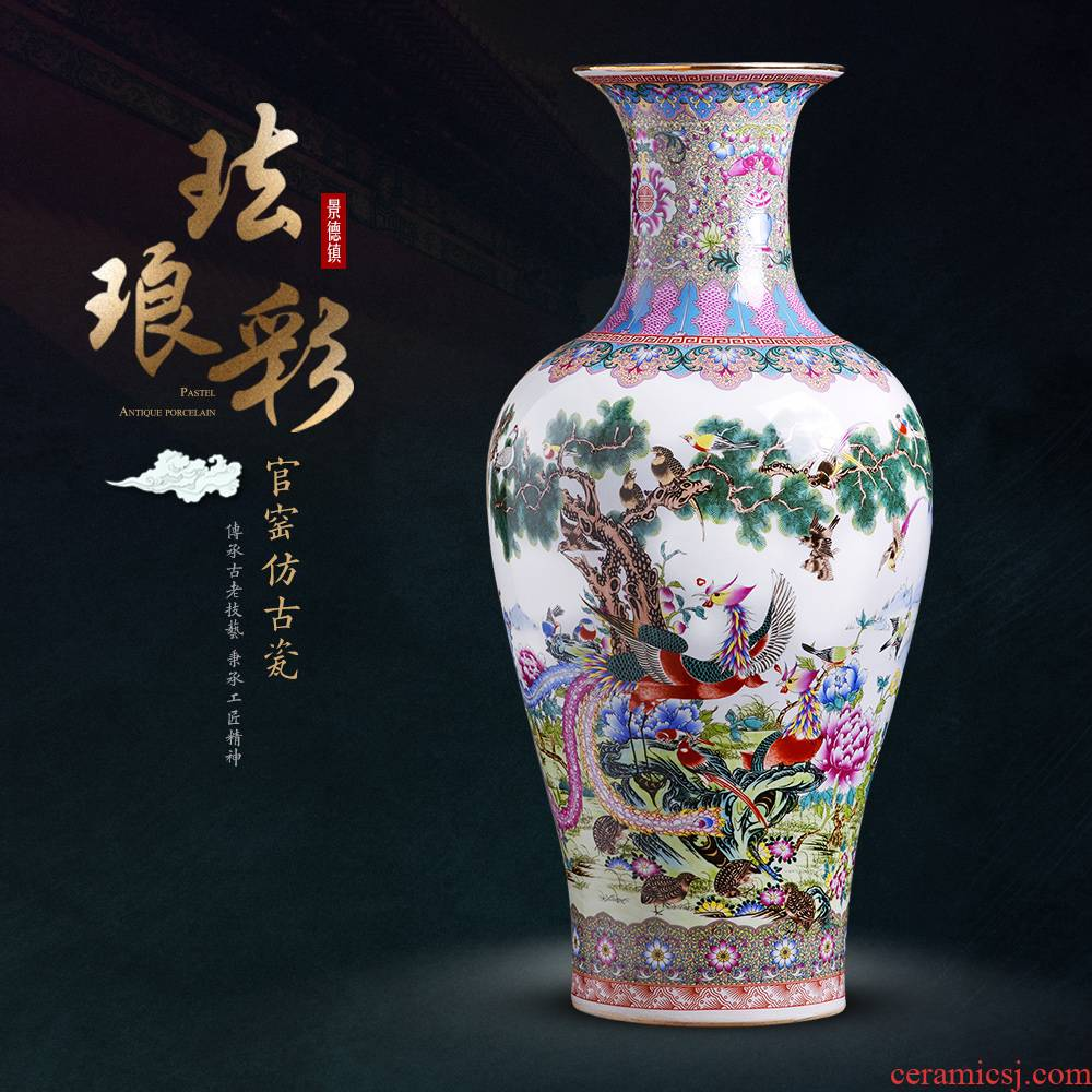 Jingdezhen ceramics powder enamel large vases, flower arrangement sitting room adornment of Chinese style household TV ark, furnishing articles
