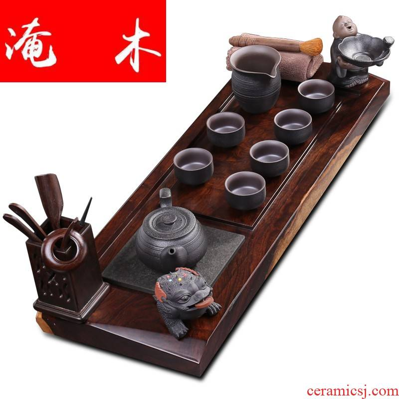 Flooded the whole piece of ebony wood tea tray ceramic kung fu tea set of black suit of a complete set of domestic tea the original solid wood