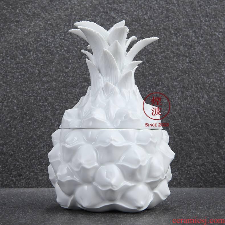German mason MEISSEN porcelain white series pineapple storage tank receive a case caddy fixings