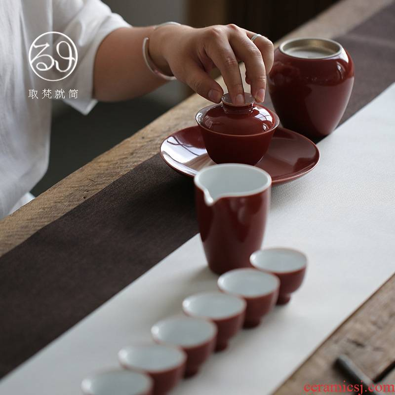 Jingdezhen fat red tureen tea set domestic cup and pot of construction water in a whole set of gift box