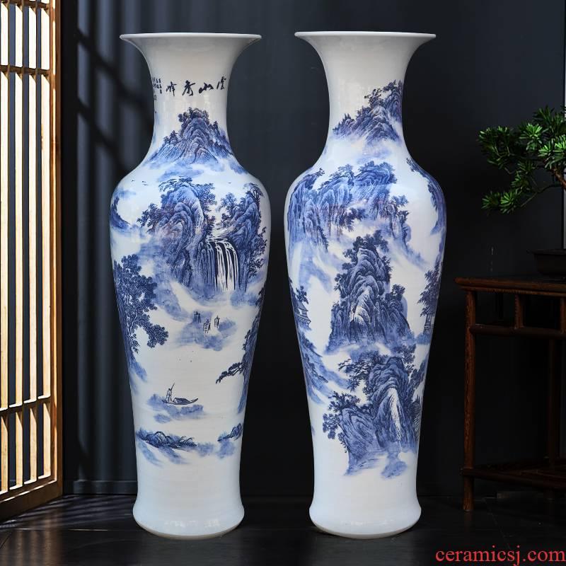 Jingdezhen ceramics new Chinese blue and white porcelain vase of large sitting room place large hotel decoration