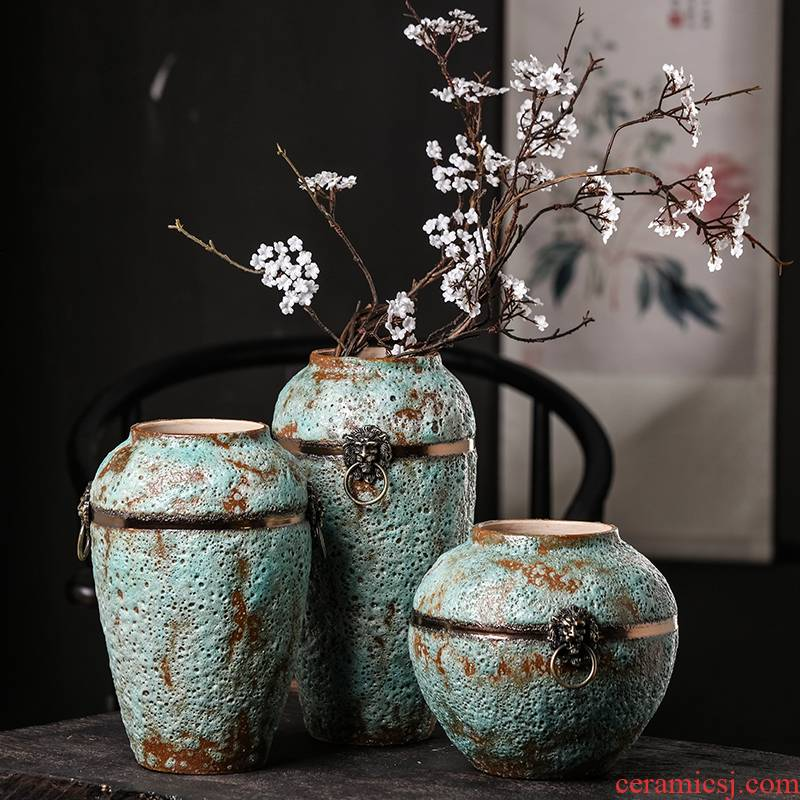 Chinese style restoring ancient ways of jingdezhen ceramics home sitting room coarse pottery three - piece wine accessories furnishing articles flower vase