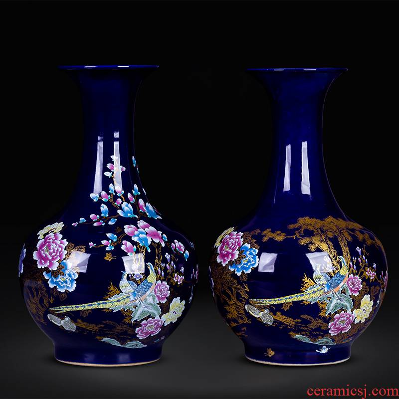 Jingdezhen ceramics medium Chinese vase flower arranging furnishing articles furnishing articles home rich ancient frame sitting room adornment porcelain