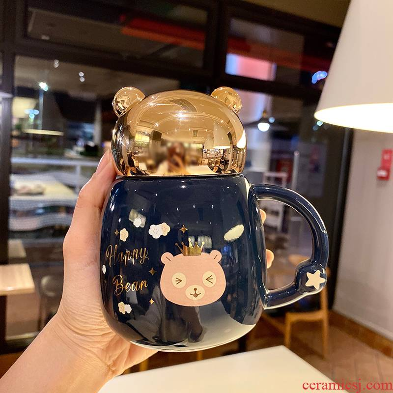 Express cartoon young girl heart cup against leaking large capacity princess cup of milk for breakfast coffee cup with cover