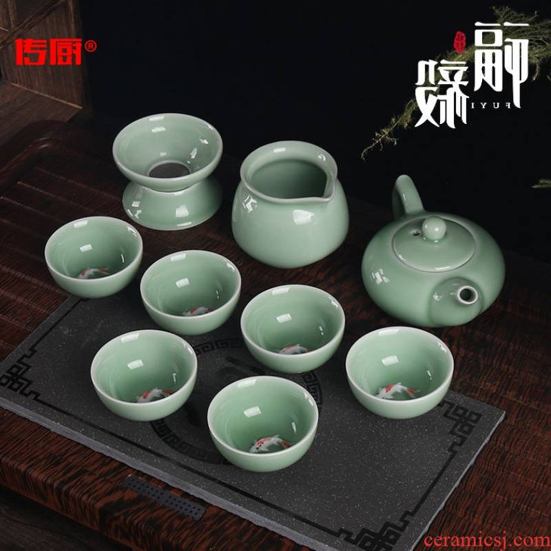 The kitchen kung fu tea sets ceramic household send tea towel 】 【 tea ware celadon lid bowl of tea cups
