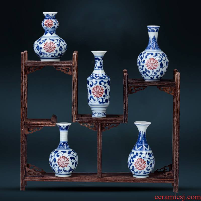 Jingdezhen blue and white porcelain hand - made ceramic mini creative flower arranging flowers floret bottle rich ancient frame furnishing articles suit