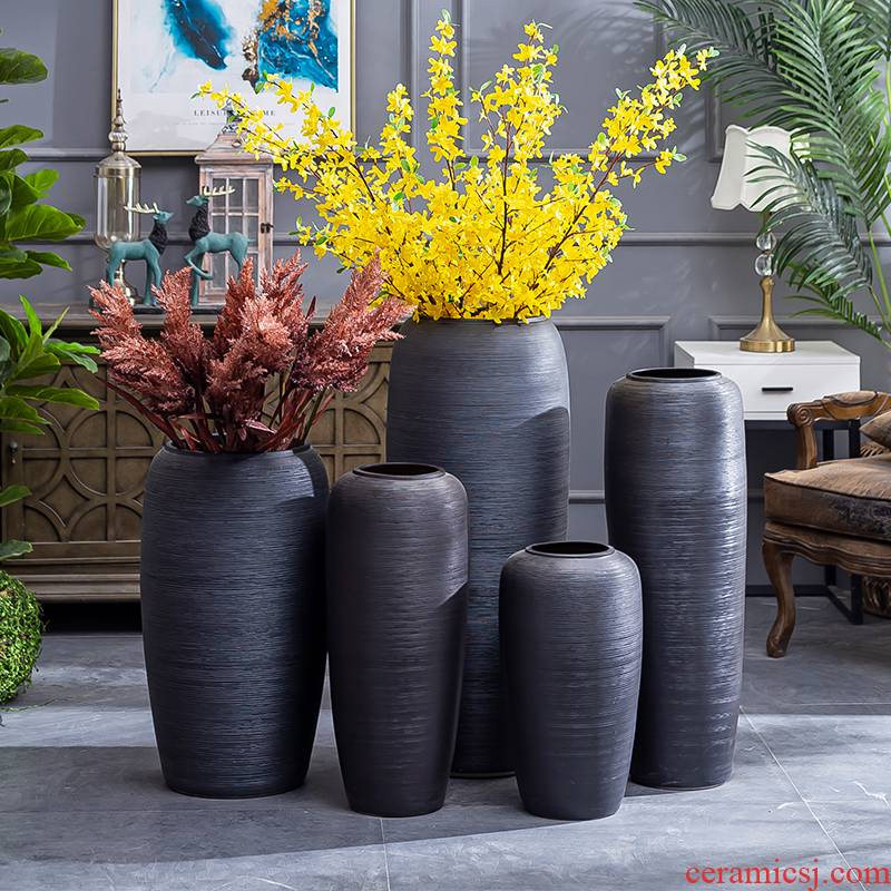 I and contracted ceramic vase landing Nordic dried flowers flower arrangement sitting room adornment is placed jingdezhen pottery basin of restoring ancient ways