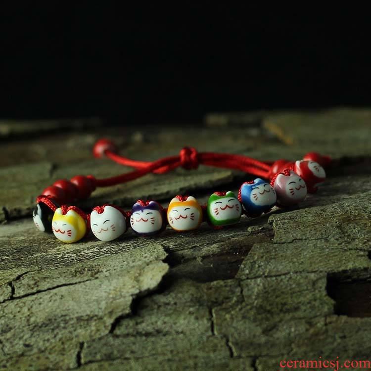 Jingdezhen ceramic wholesale, nine color cat head porcelain bracelet JXB145 move