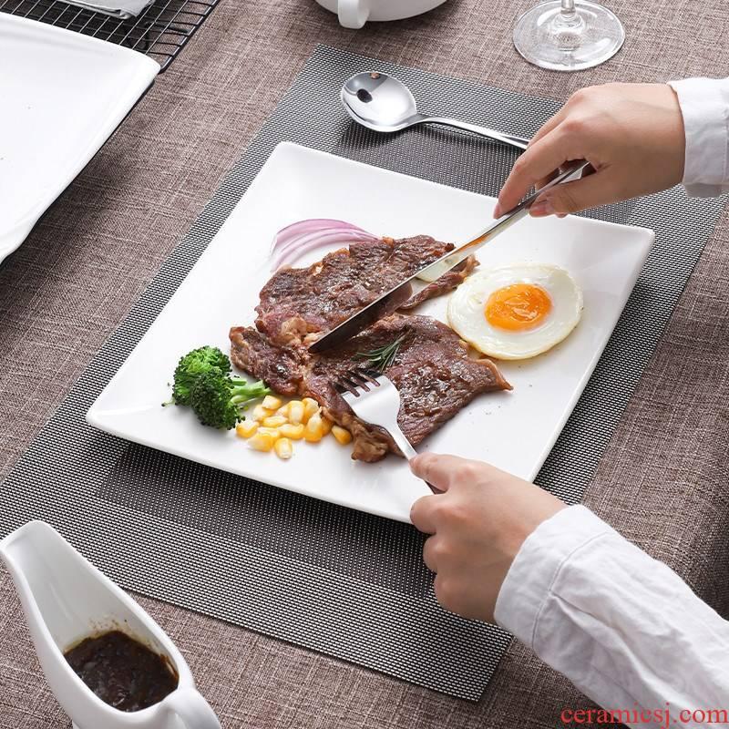 Steak dish creative pure western food dish dish square plate Steak knife and fork dish suit western - style food tableware ceramics full set