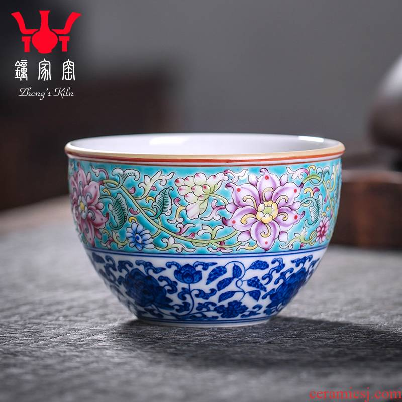 Clock home trade, one cup of single cup of jingdezhen blue and white manually wrapped branch pattern colored enamel sample tea cup trill small cup