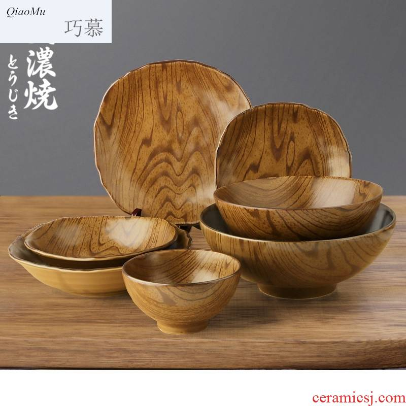 Qiao mu Japanese rice bowl taste thousand la rainbow such as bowl bowl large household creative wood grain ceramic tableware dishes dishes