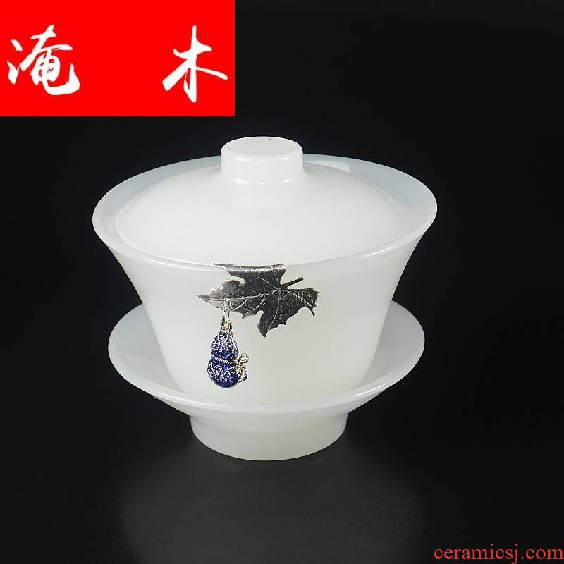 Submerged wood tureen jade porcelain large transparent three new one move with dragon kung fu tea bowl cups