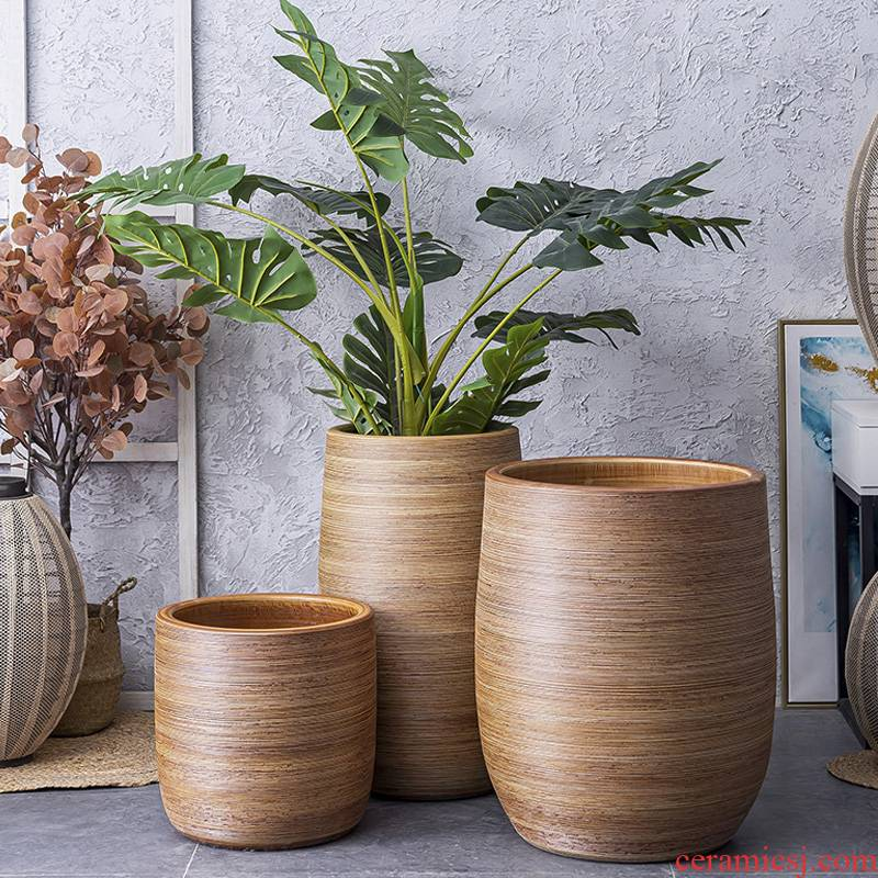 Large heavy flowerpot European ceramic flower pot I and contracted indoor light key-2 luxury furnishing articles move Nordic vase landing