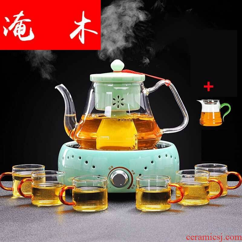 Submerged wood of a complete set of suit the electric TaoLu glass tea steamer to cook tea, the domestic tea stove ceramic inner pot steam