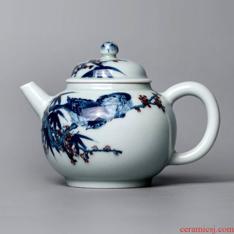 Jingdezhen blue and white youligong teapot Lin Yuehong hand - made pure manual painting of flowers and tea pot pot of kongfu tea set
