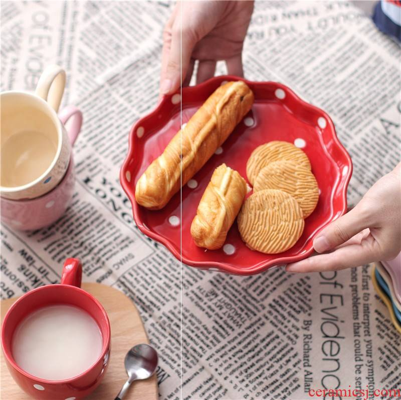 Creative ceramic Japanese wave some breakfast dish fruit dessert plate of pasta dish food dish mugs cutlery set