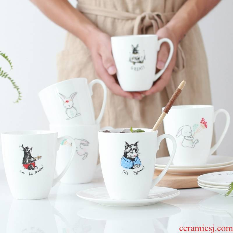 Qiao mu mugs creative household glass ceramic cup with saucer picking lovely cup of milk for breakfast coffee cup