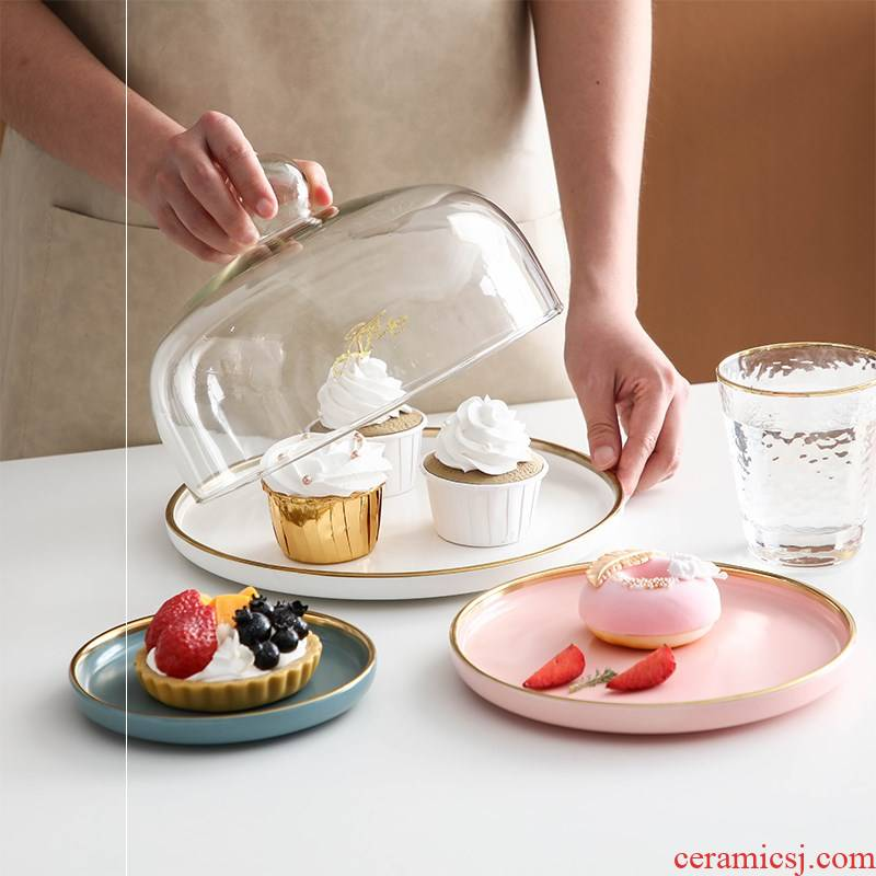 Ceramic cake plate of dim sum dishes of bread fruit dessert display photo tray was the try with the cover on the glass