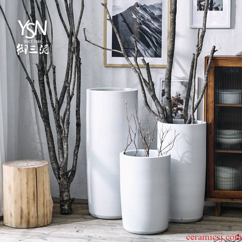 Royal three I and contracted white ceramic POTS decoration flower bed mud Nordic green plant to heavy big vase furnishing articles