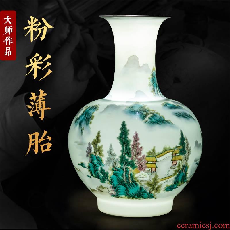 Jingdezhen ceramics pastel landscape in new living room TV cabinet decoration of Chinese style household furnishing articles porcelain vase