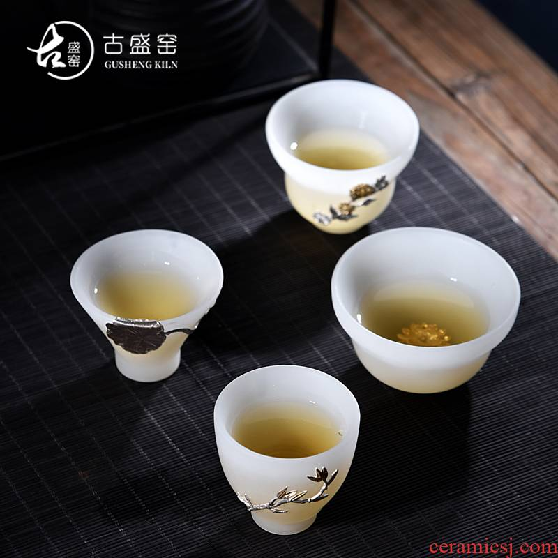 Ancient sheng up new gourd white porcelain Mosaic jade inlaid with silver coloured glaze ceramic whitebait cup sample tea cup master CPU