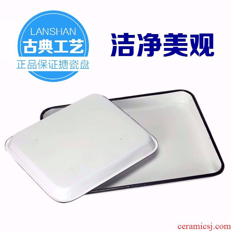 Laboratory with thick white square plate tray was white enamel disc white enamel plate chemical tray package mail