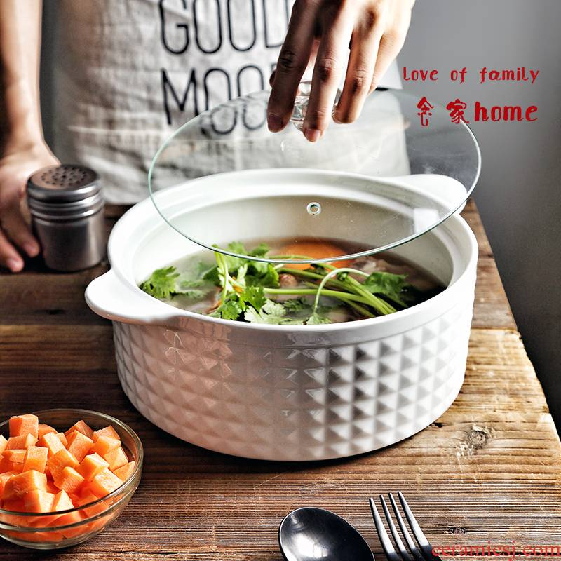 The Send tablespoons of creative Japanese household ceramic bowl of soup soup bowl with cover large ears microwave oven bathtub cubicle nest mail