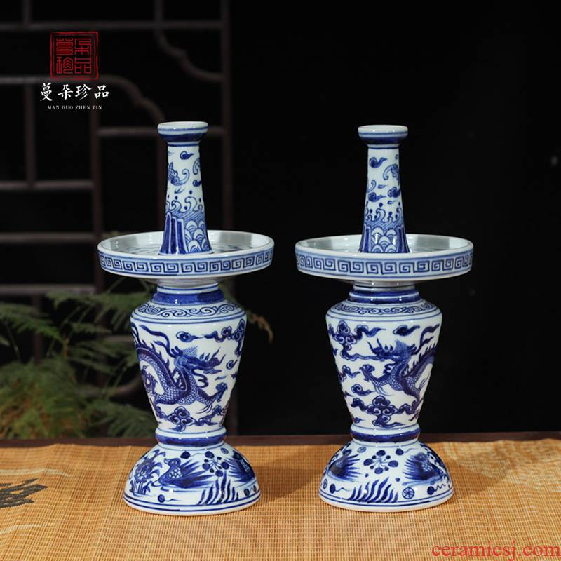 Classical jingdezhen porcelain based shaped elegant Classical ancient candlestick porcelain flower vase with blue and white porcelain vase with flowers