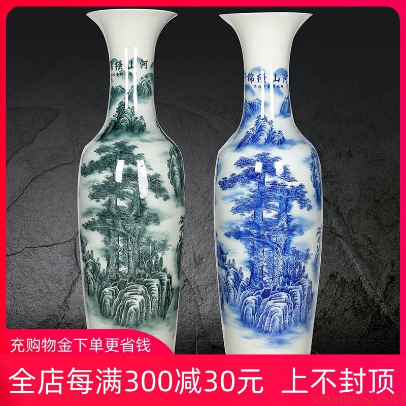Jingdezhen ceramic blue and white large vase splendid sunvo furnishing articles hotel opening 1.61.8 m sitting room adornment